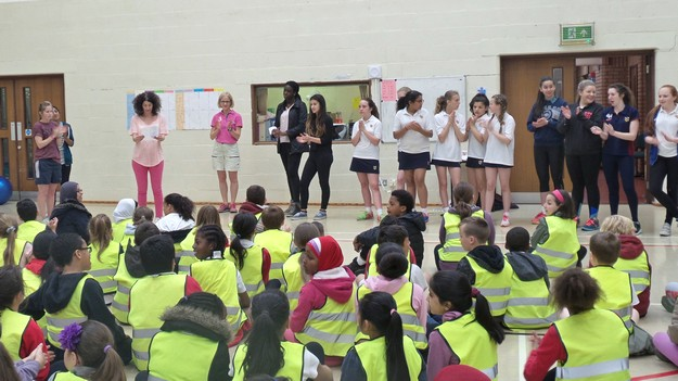 Presenting the Sports Day plan to the Old Moat Children