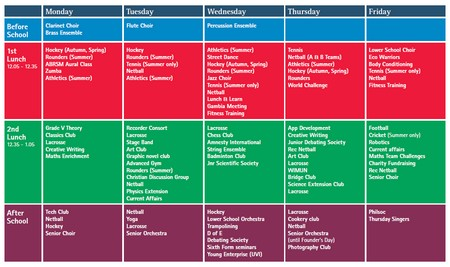 Extracurricular Timetable